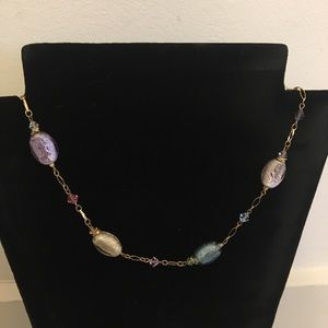 "16"" Alexis K necklace w mixed glass stone/beads"